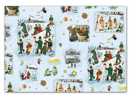 balící papír vánoční klasik Lada 5 100x70 5811485