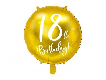 Balón foliový 18. narozeniny zlatý, 45cm