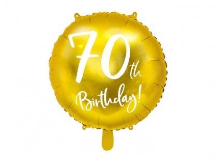 Balón foliový 70. narozeniny zlatý, 45cm