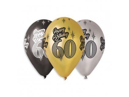 Balónky metalické 60 let , Happy Birthday - mix barev - 30 cm (5 ks)