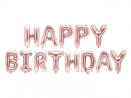 Balón foliový nápis narozeniny - HAPPY BIRTHDAY - rose gold - růžovo zlatý 340 x 35 cm - Balónek