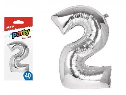 balónek č. 2 nafukovací fóliový 40 cm - stříbrný 8000135