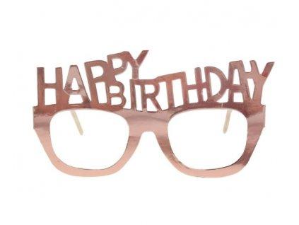 Papírové brýle Happy Birthday - narozeniny - rose gold - růžovozlaté 4 ks