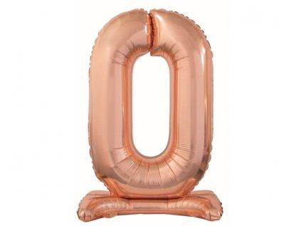 Balón foliový číslice RŮŽOVO ZLATÁ / ROSE GOLD na podstavci, 74 cm - 0