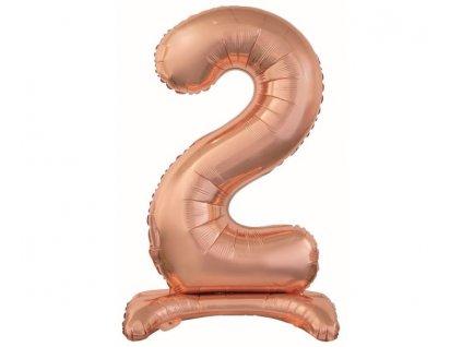 Balón foliový číslice RŮŽOVO ZLATÁ / ROSE GOLD na podstavci, 74 cm - 2