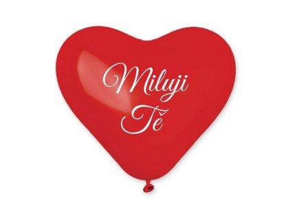 Balónek srdce červené 25 cm potisk MILUJI TĚ - 1 ks - Valentýn