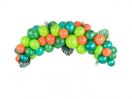 Balónková girlanda - Sada zeleno - oranžová - DINO / DŽUNGLE 200 cm, 60 ks