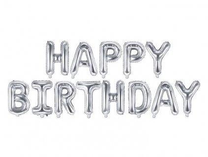 Balón foliový nápis narozeniny - HAPPY BIRTHDAY - STŘÍBRNÝ - silver 340 x 35 cm - Balónek