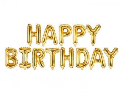 Balón foliový nápis narozeniny - HAPPY BIRTHDAY - ZLATÝ - gold 340 x 35 cm - Balónek