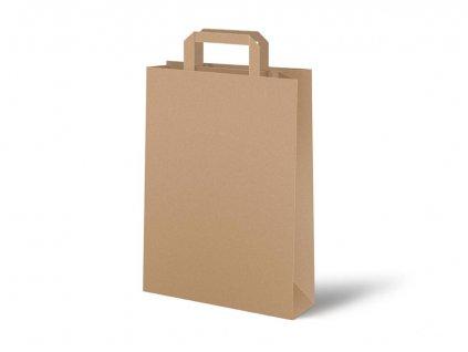 taška papír hnědý s plochým uchem 26x34x12cm 5251321