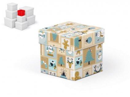 krabice dárková vánoční C-V001-A 8x8x8cm 5370693