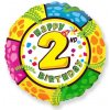 Balón foliový HAPPY BIRTHDAY 2. NAROZENINY 45 cm