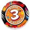 Balón foliový HAPPY BIRTHDAY 3. NAROZENINY 45 cm