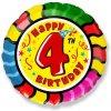 Balón foliový HAPPY BIRTHDAY 4. NAROZENINY 45 cm