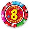 Balón foliový HAPPY BIRTHDAY 8. NAROZENINY 45 cm