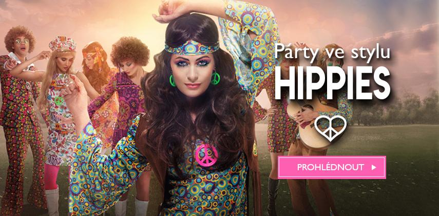 Karnevalové kostýmy a doplňky na hippie párty 60. léta