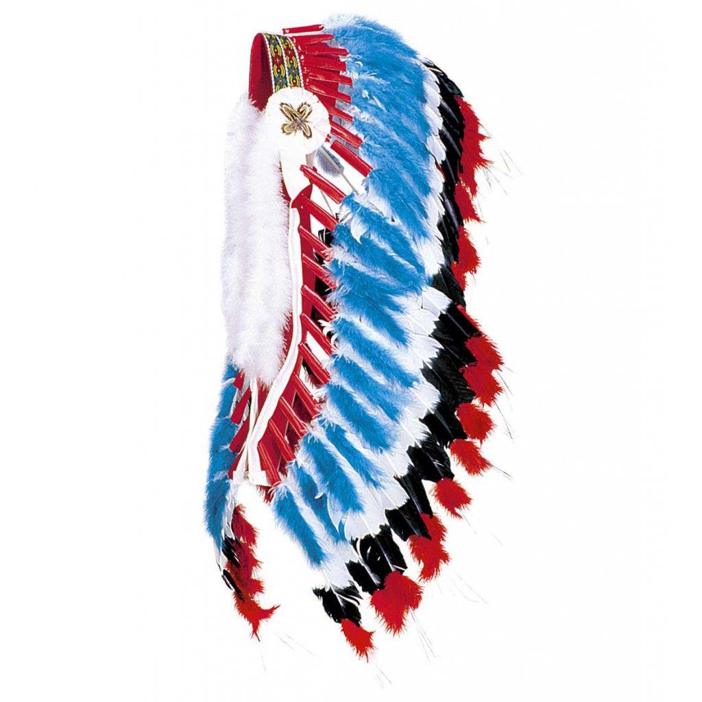 Velká indiánská čelenka modrá kvalitní