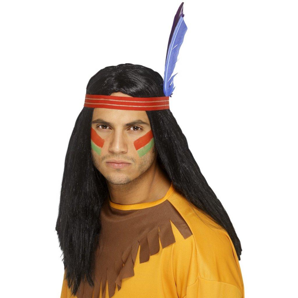 Pánská paruka Indián s čelenkou