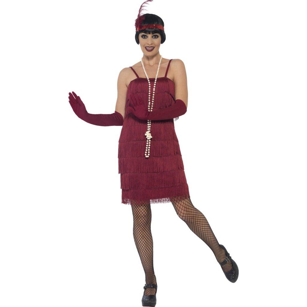 Charleston šaty burgundy (bez čelenky a rukavic)