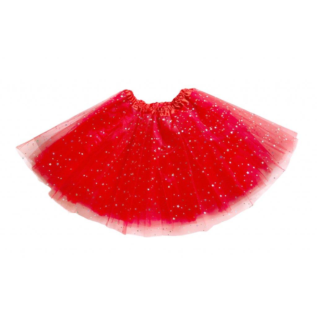 červená TUTU sukně s hvezdičkami