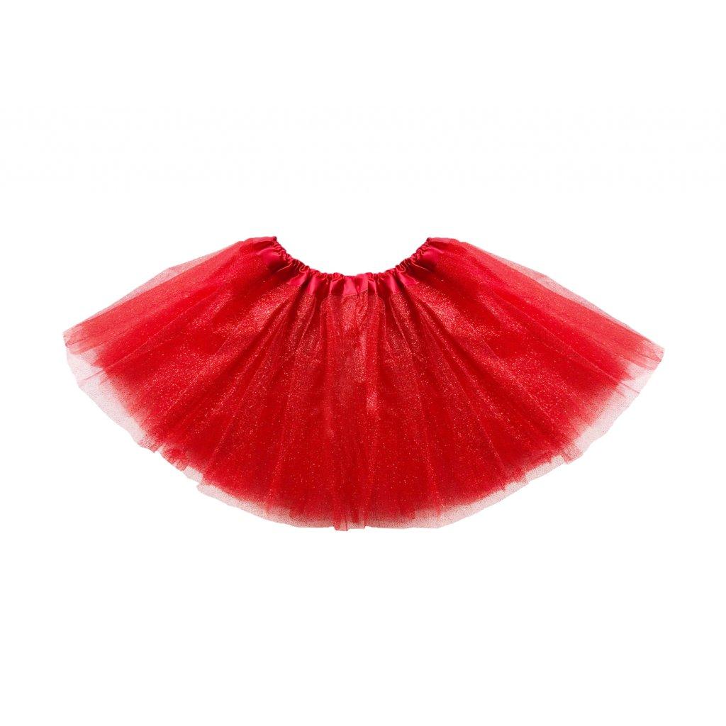 Třpytivá tutu sukně červená pro děti