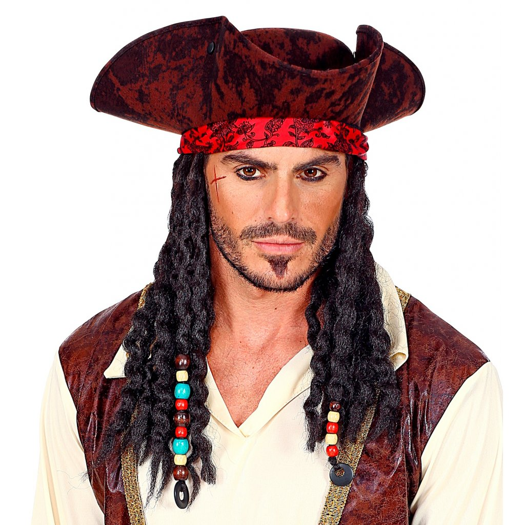 klobouk piráta s parukou