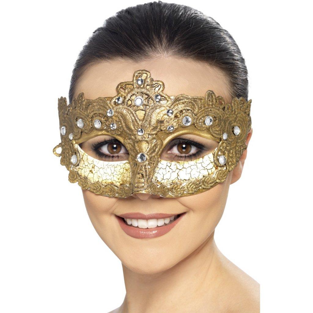 Benátská škraboška zlatá Colombina