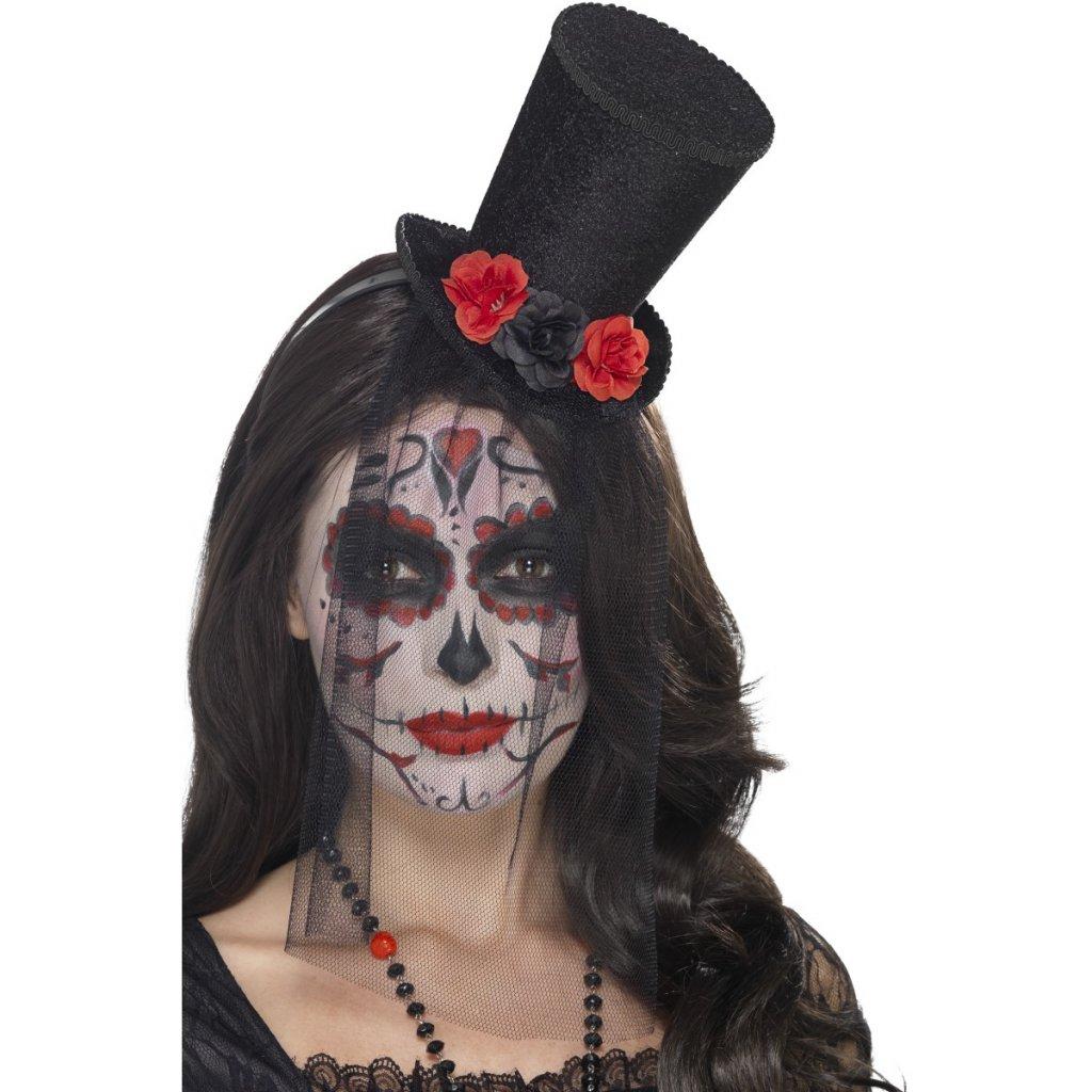 Mini klobouk s růžemi Sugar Skull