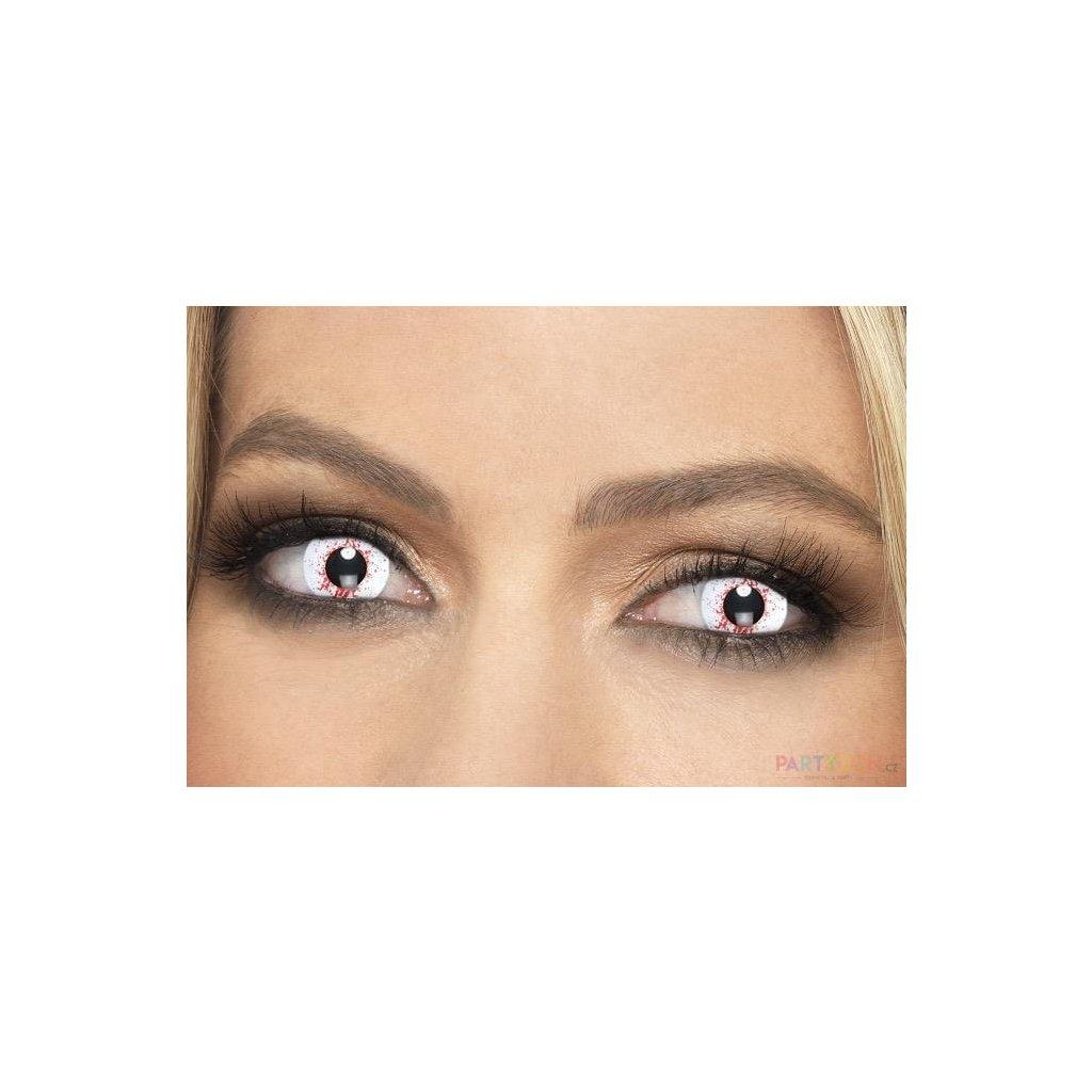 Barevné kontaktní bílé krvavé čočky na halloween