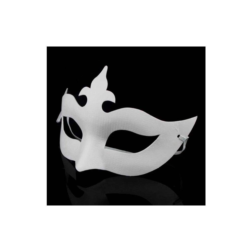 Bílá karnevalová maska k domalování