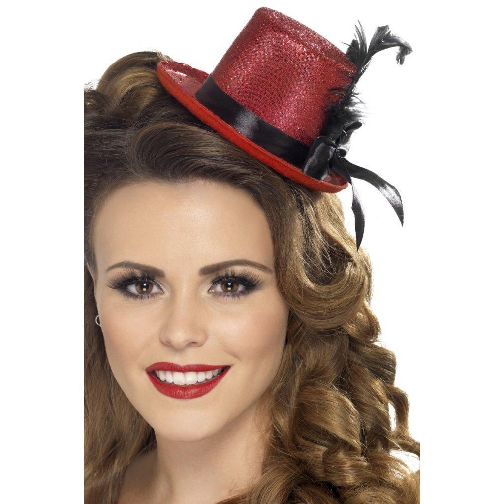 Mini klobouček s peřím červený
