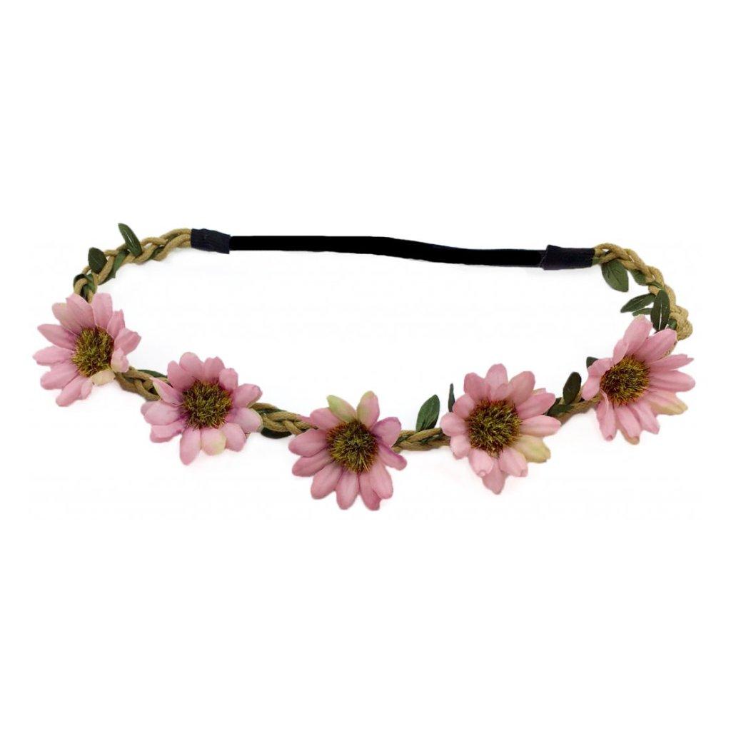 a774a1a5c03 Růžová květinová čelenka do vlasů