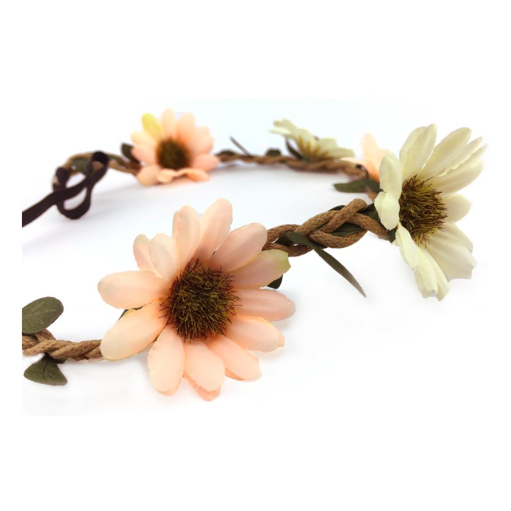 Bílooranžová květinová čelenka do vlasů 42b2027bf5