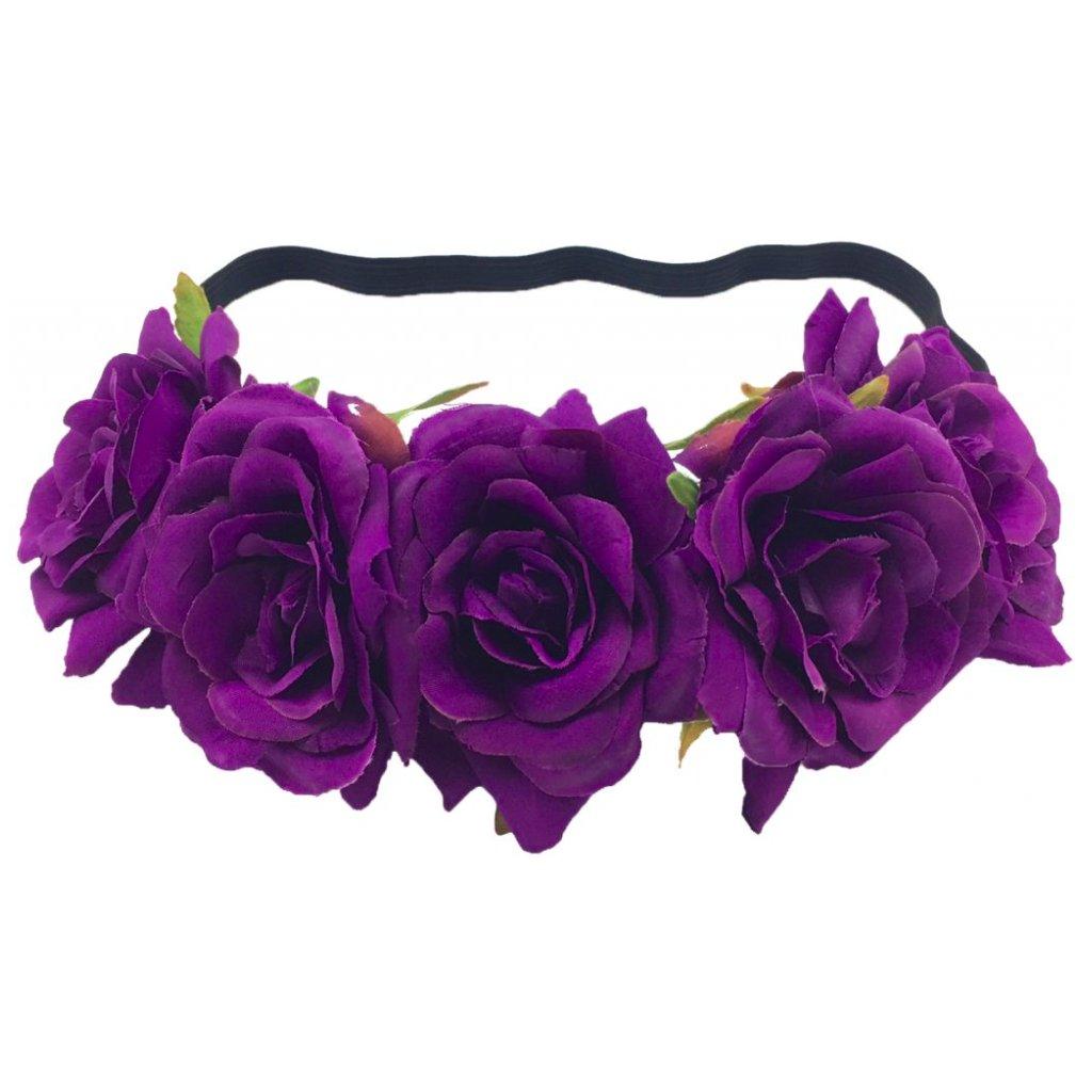 6d4333a7a80 Květinový věneček do vlasů fialové růže