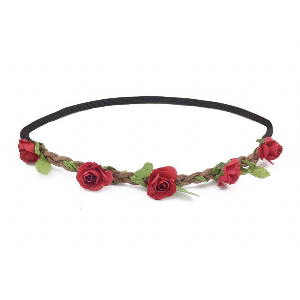 květinová čelenka do vlasů červená levně