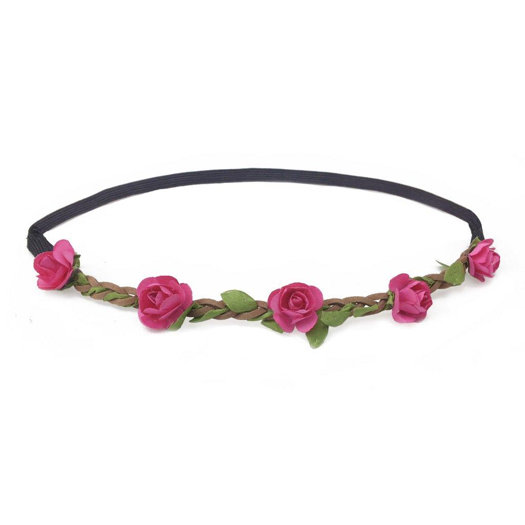 0c1d8d21416 květinová čelenka do vlasů růžová levně