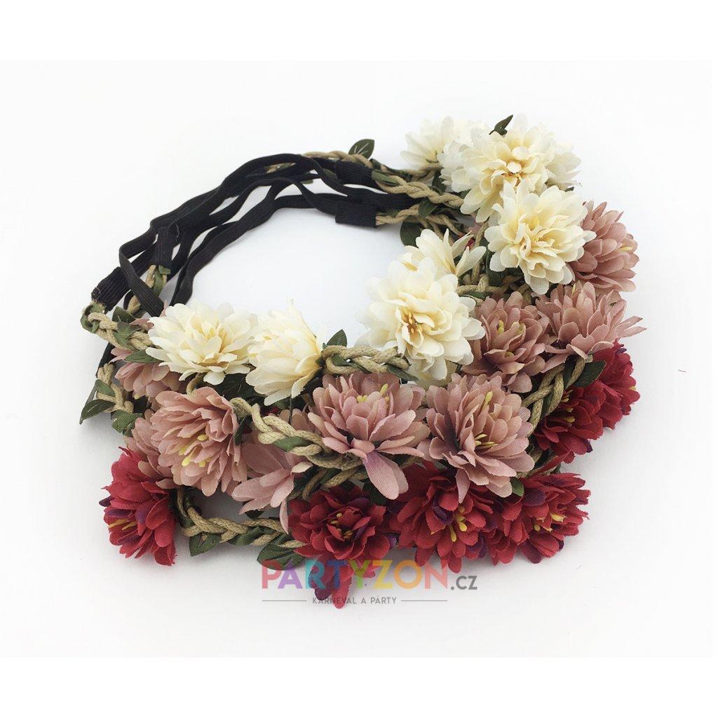 Květinová čelenka růžové květy  1b9d184533