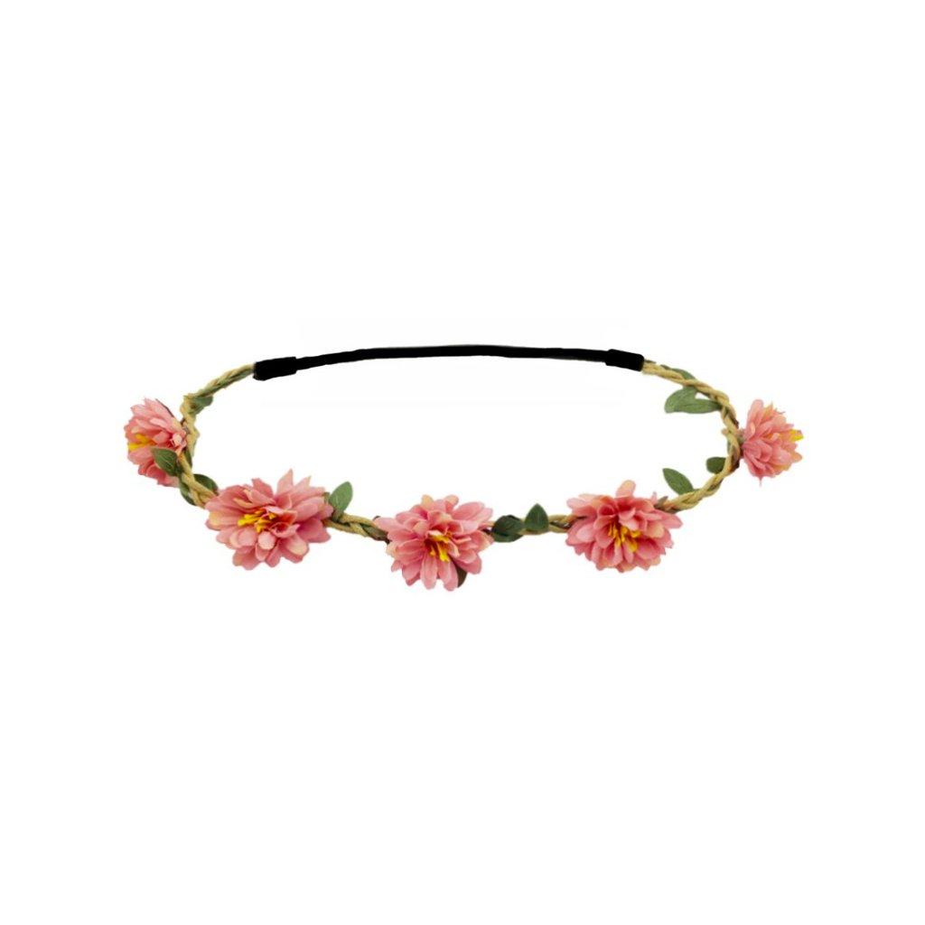 růžová květinová čelenka do vlasů