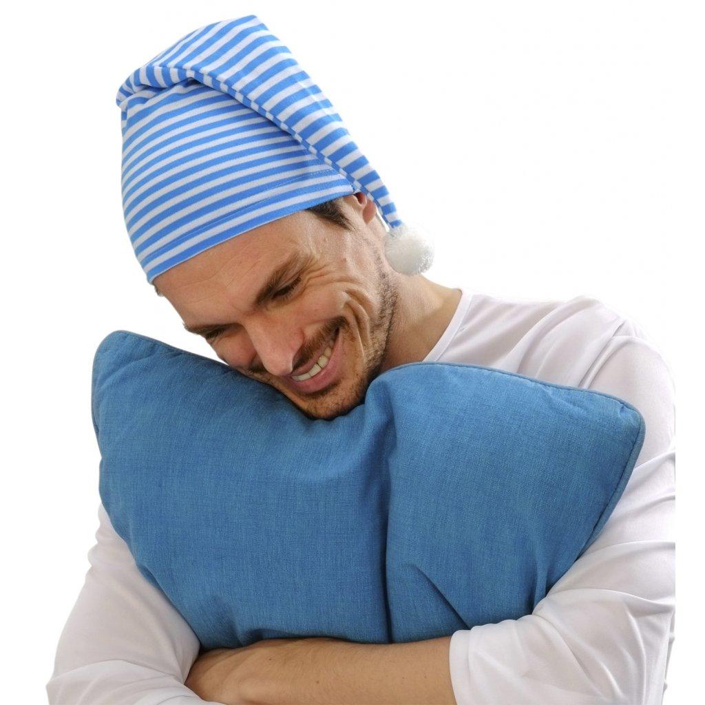 Čepice na spaní modrobílá