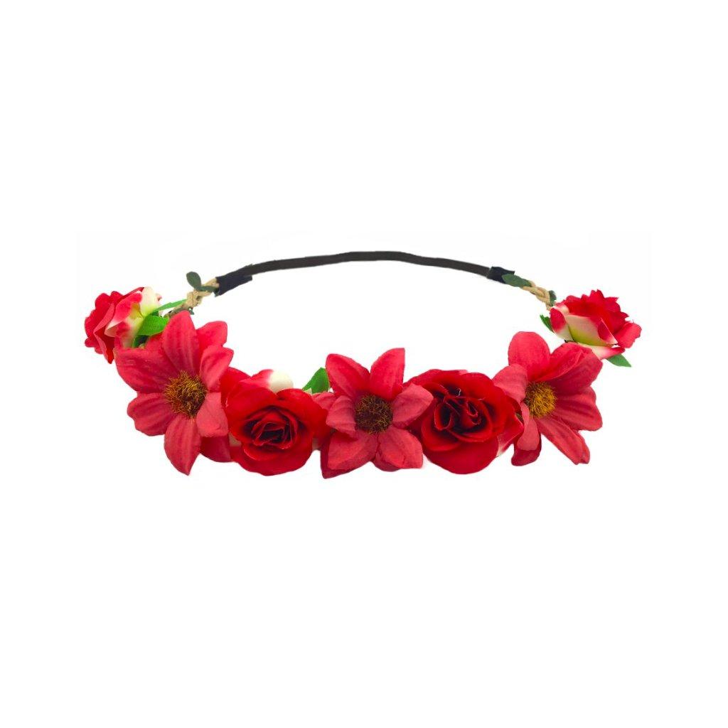 červená květinová čelenka