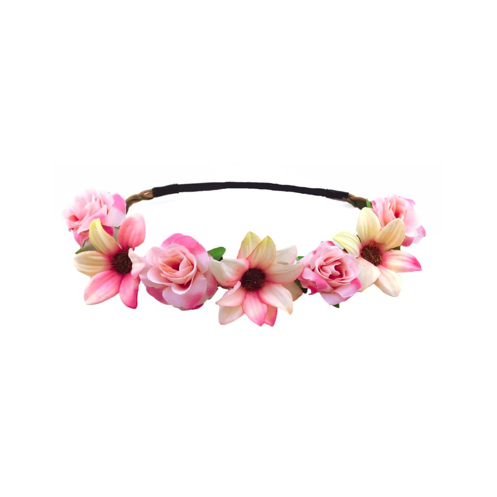 Růžová květinová čelenka  a5eaa2d403
