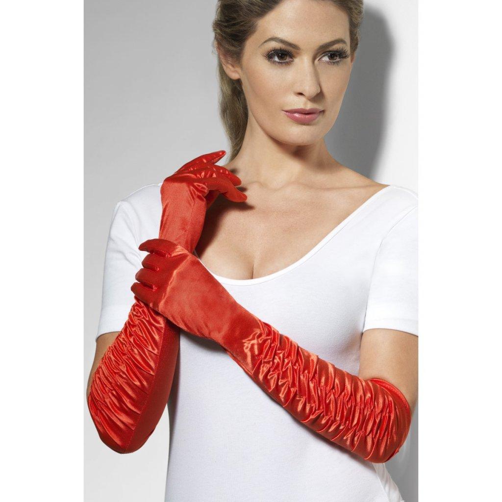 Dlouhé rukavice nařasené červené