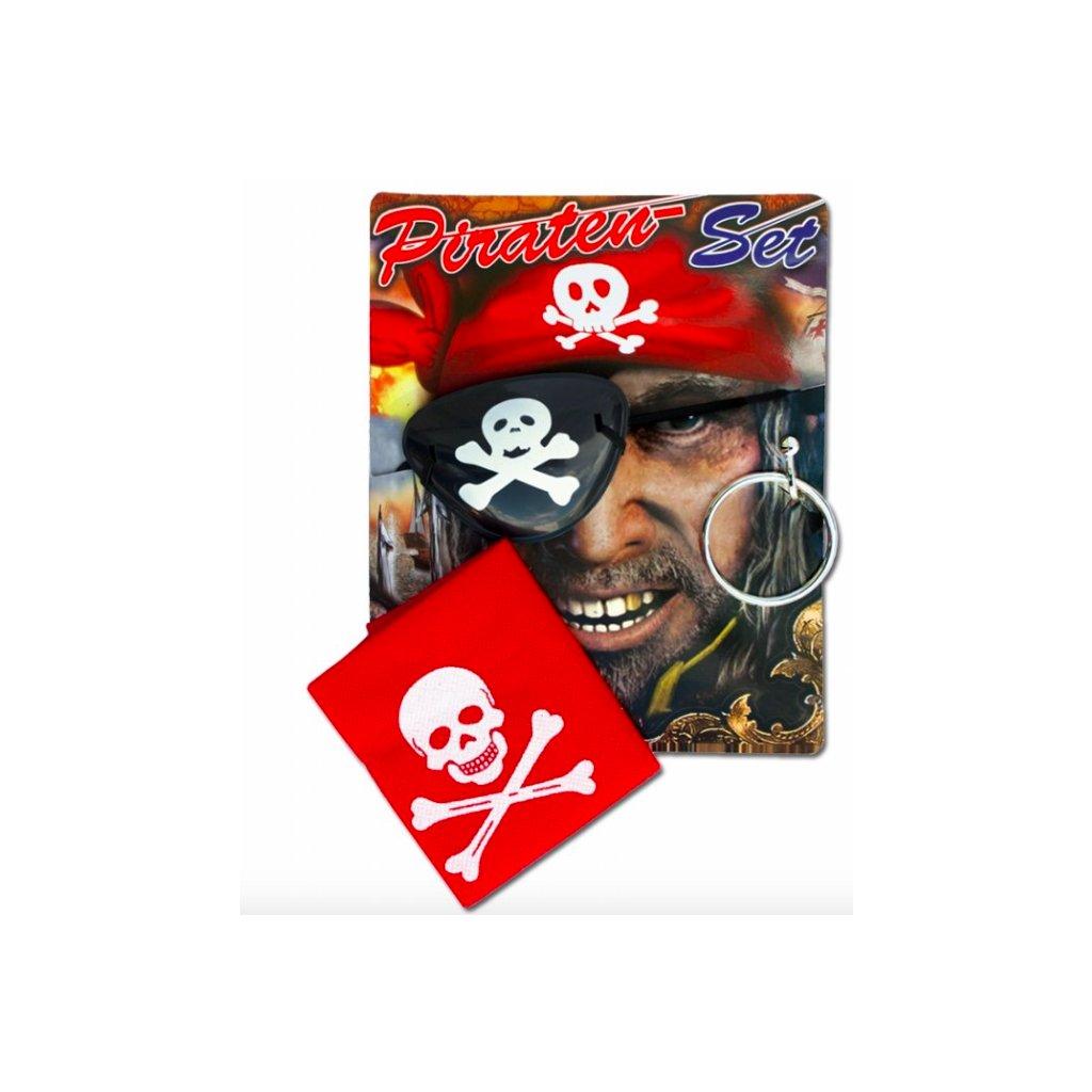 Sada pro piráty šátek, páska na oko, náušnice