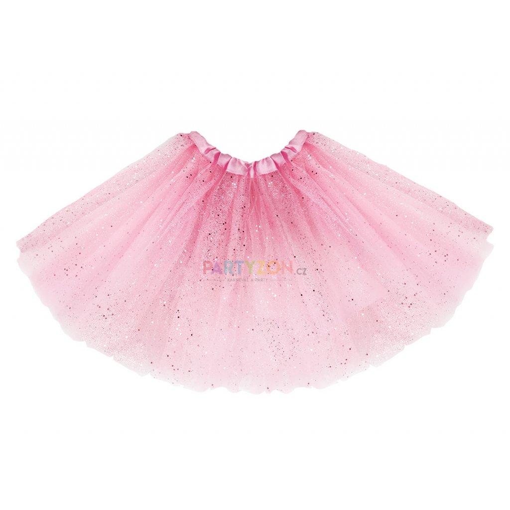 7059839104b Růžová tutu sukně třpytivá 40 cm