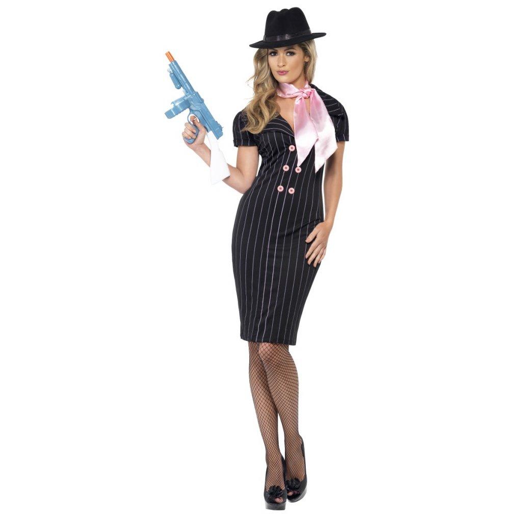 Kostým mafiánka pruhované šaty