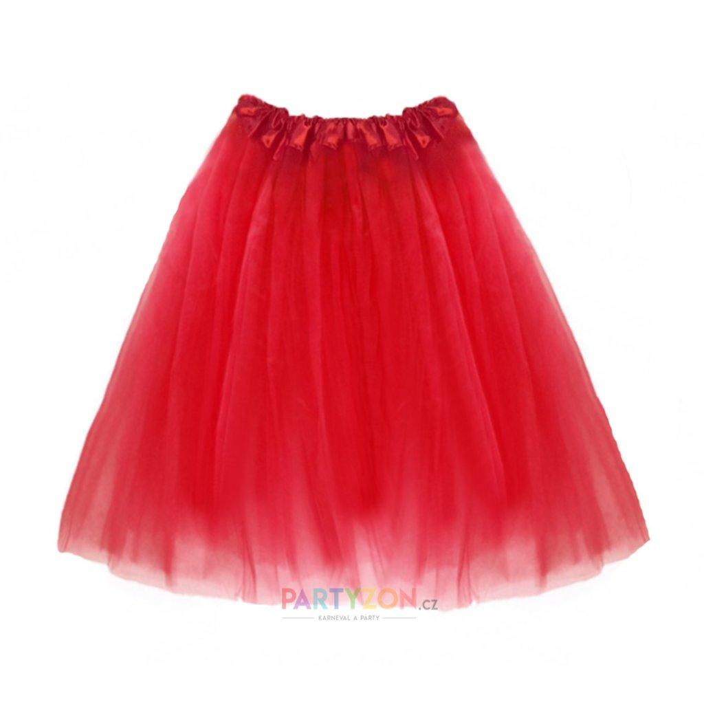Dlouhá tutu sukně červená 70 cm  d0ef80894f