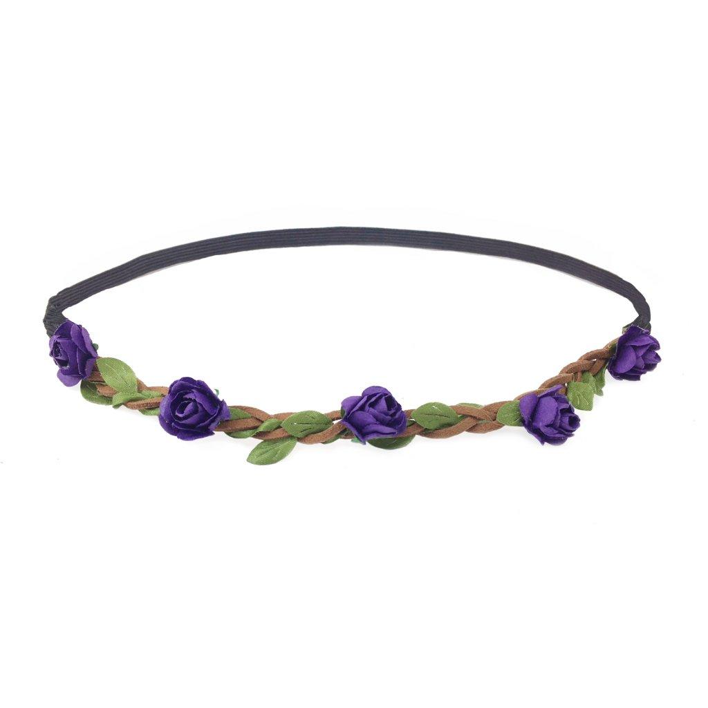 květinová čelenka do vlasů fialová levně