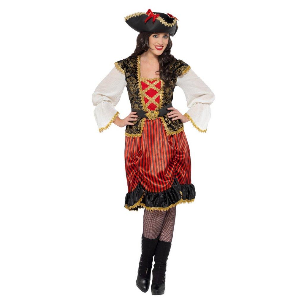 Červený kostým pirátky plus size