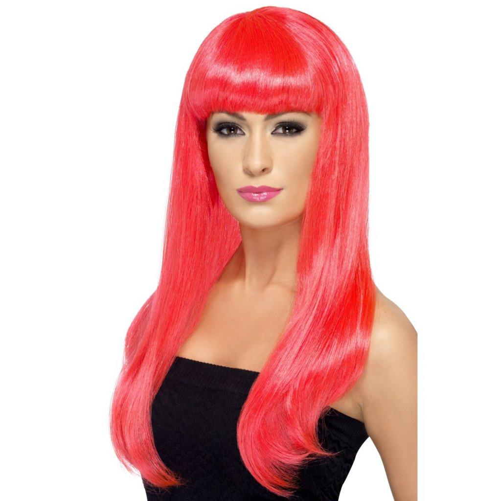 Dlouhá dámská paruka růžová Neon partyzon