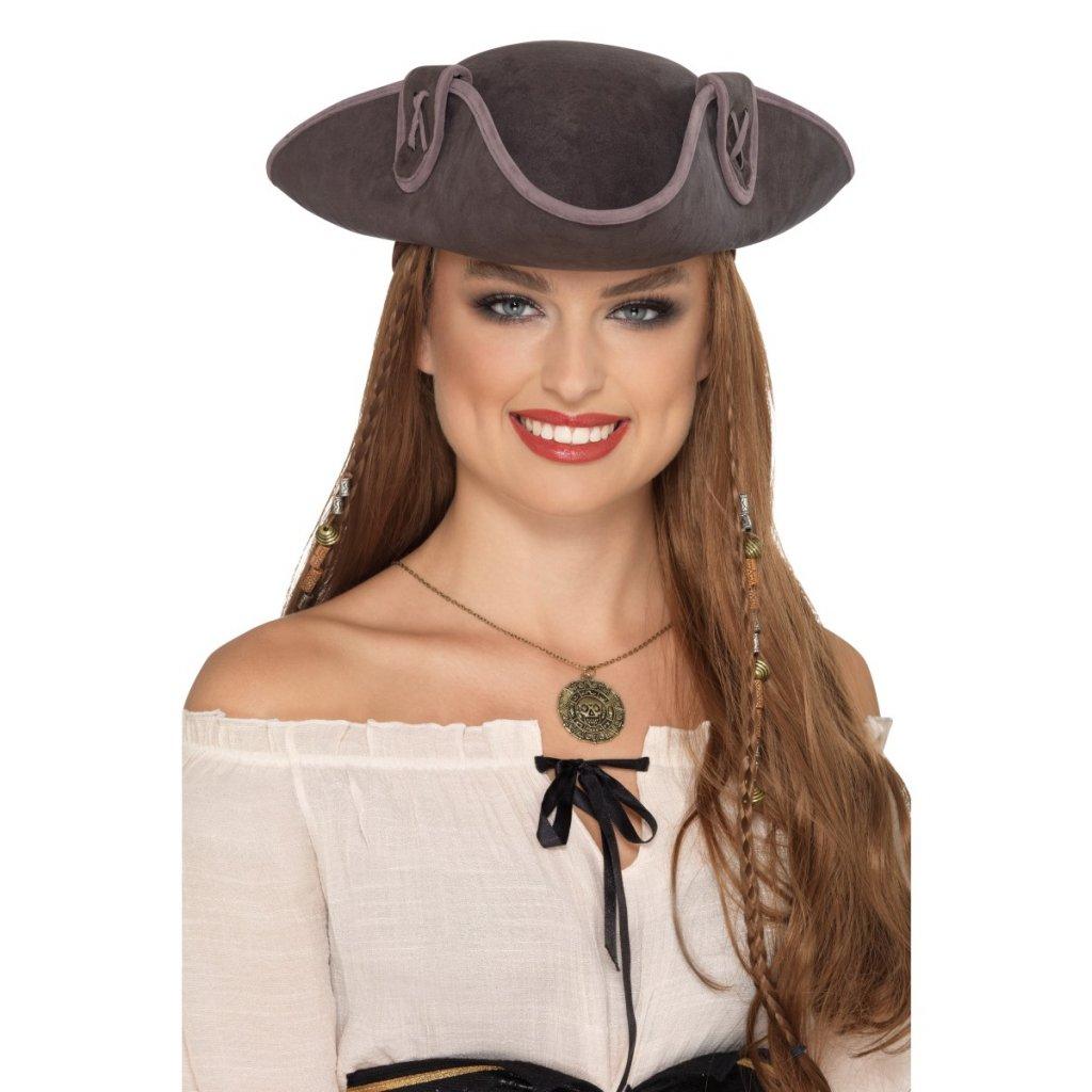 f20576e647d Pirátský klobouk Kapitán šedý